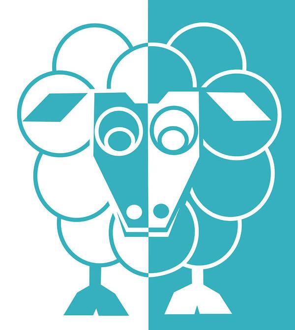 Sheep Art Print featuring the painting Sleep-sheep - Lonvig By Minymo by Asbjorn Lonvig