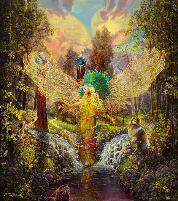 Angel Art Print featuring the painting Archangel Haniel by Steve Roberts