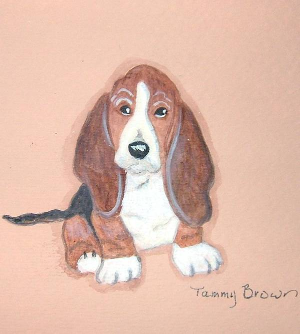 Basset Art Print featuring the painting Baby Face by Tammy Brown
