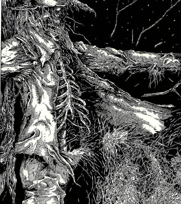 Scarecrow;horror;macabre; Skull; Pen And Ink Art Print featuring the drawing Bad Oz 2 by Justin Kautz