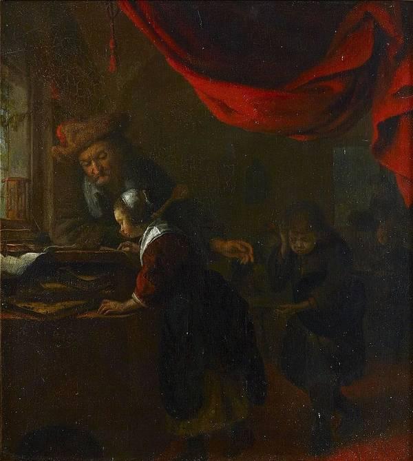 Bartholomeus Mathon Maton C.1643 46-c.1685 Interior Art Print featuring the painting Bartholomeus Mathon Maton by MotionAge Designs