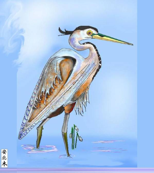 Blue Heron Art Print featuring the painting Blue Heron In The Mist by Anne Norskog