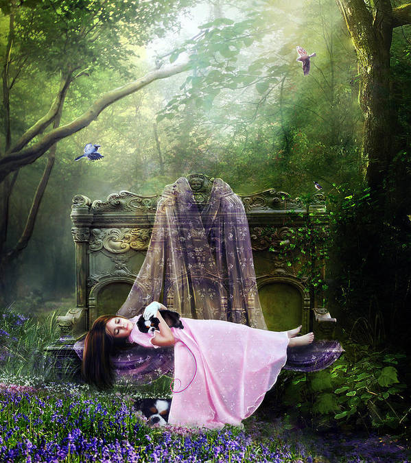 Girl Art Print featuring the digital art Bluebell Dreams by Mary Hood