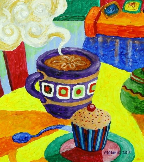 Coffee Art Print featuring the painting Complementary Coffee 1 by Paul Hilario