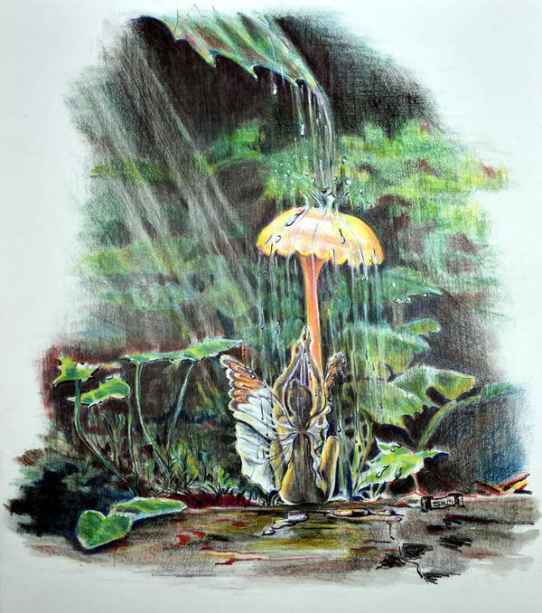 Fairy Art Print featuring the drawing Fairy Shower by Susan Moore