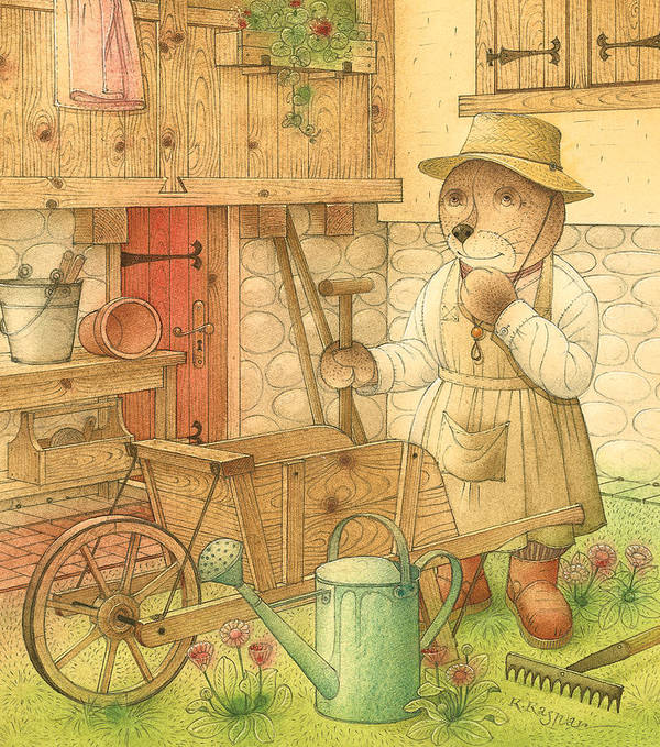 Bear Garden Flowers Art Print featuring the painting Florentius The Gardener02 by Kestutis Kasparavicius