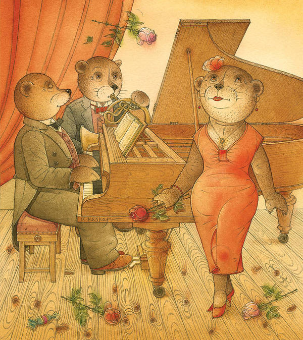 Music Bears Love Flowers Flirt Song Art Print featuring the painting Florentius The Gardener03 by Kestutis Kasparavicius