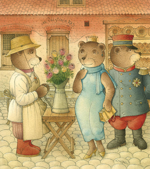 Bears Love Queen Flowers Roses Flirt Art Print featuring the painting Florentius The Gardener09 by Kestutis Kasparavicius