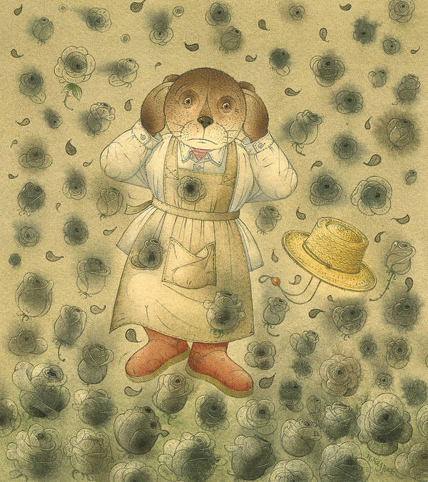Bears Black Roses Dark Night Magic Horror Art Print featuring the painting Florentius The Gardener21 by Kestutis Kasparavicius