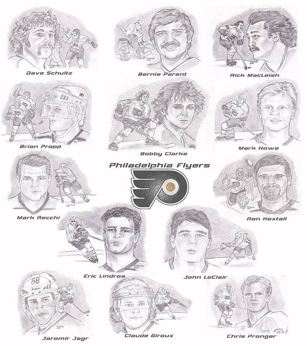 Philadelphia Flyers Print featuring the drawing Flyer Greats by Chris DelVecchio