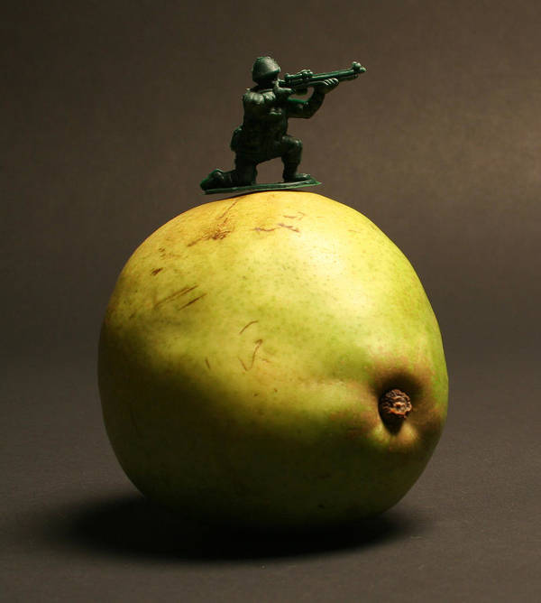 Pear Art Print featuring the photograph Fruit Warfare by Bryan Hochman