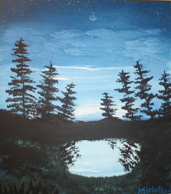 Folk Art Print featuring the painting Grandpa's Piney Pond by Susan Michutka