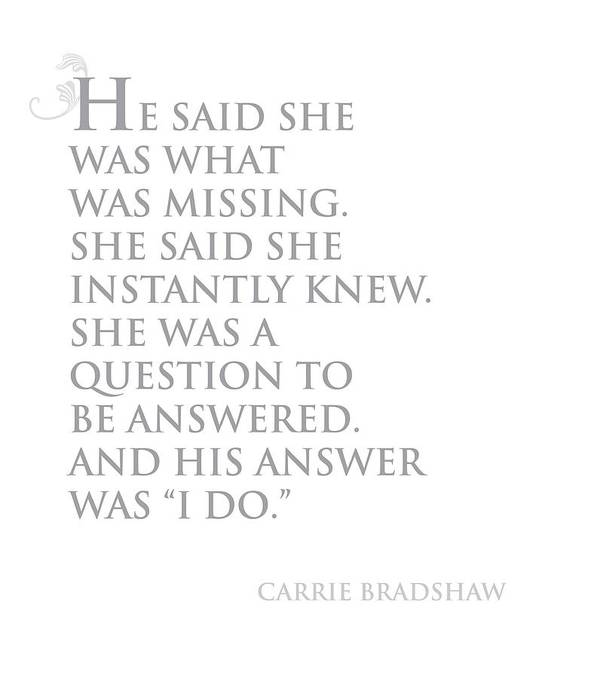 Carrie Bradshaw Print featuring the drawing I Do by Cindy Greenbean