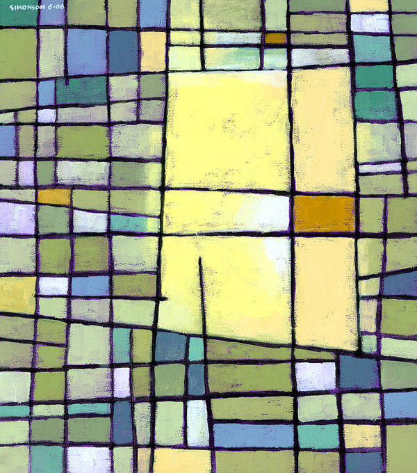 Abstract Art Print featuring the painting Lemon Squeeze by Douglas Simonson