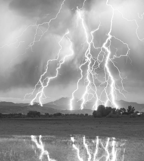 Foothills Art Print featuring the photograph Lightning Striking Longs Peak Foothills 4cbw by James BO Insogna