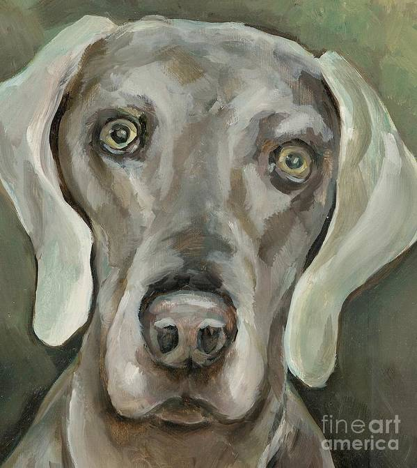Dog Art Print featuring the painting Maddie by Linda Vespasian
