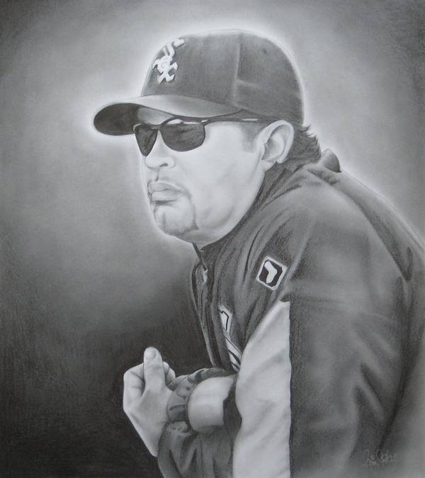 Ozzie Art Print featuring the drawing Ozzie Guillen by Brian Schuster