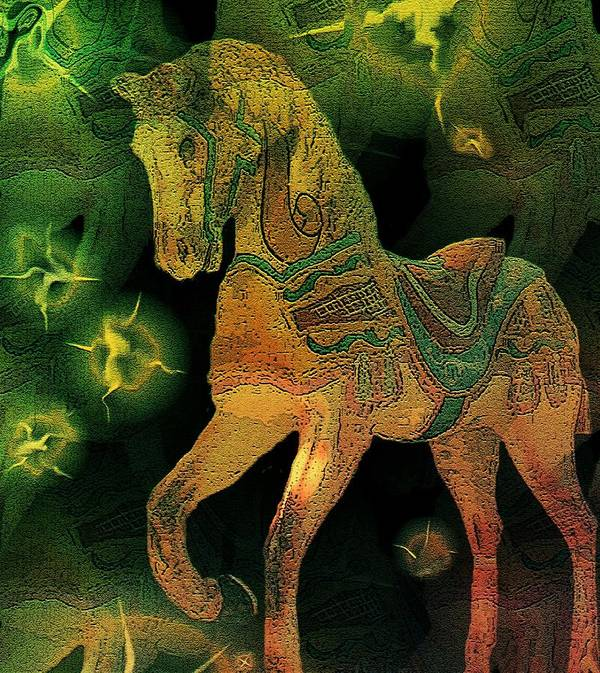 Carousel Horse Pastures New Dreamsequence Freedom Stars Green Brown Art Print featuring the mixed media Pastures New by Susan Epps Oliver