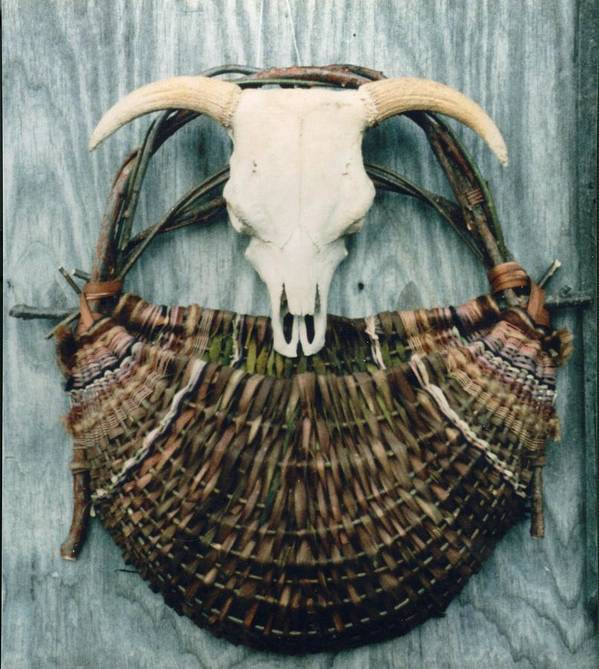 Wall Basket Art Print featuring the mixed media Skull Basket by Stephen Hawks