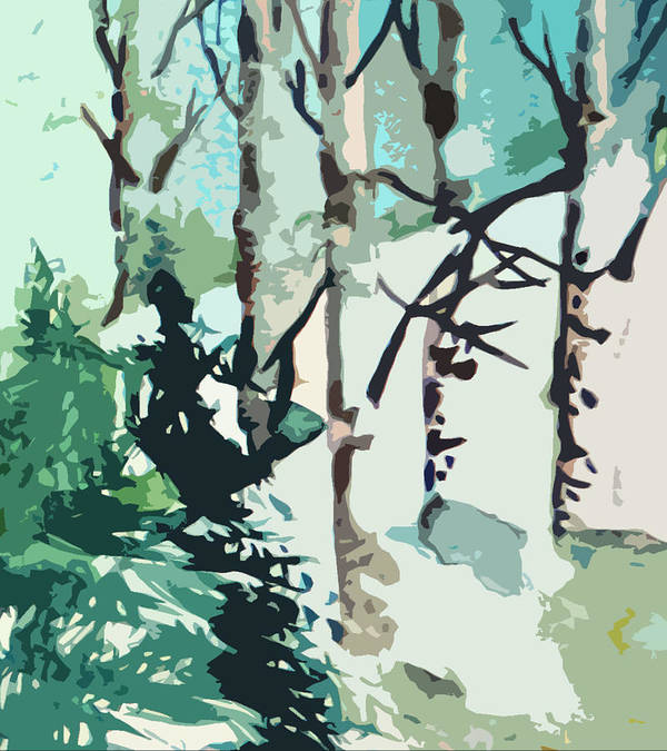 Pine Trees Art Print featuring the painting Snowbound by Mindy Newman