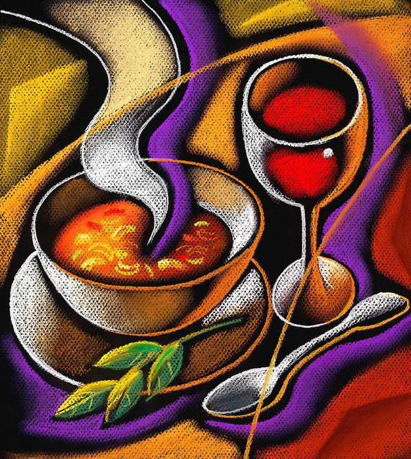 Appetite Appetizing Artwork Benefit Bowl Broth Consumption Container Cookware Crockery Cutlery Delicious Delight Devouring Diet Dieter Dieting Dining Dinner Dinnerware Dish Dishware Drawing Eating Flatware Food Gracious Graphic Graphic Art Graphic Gratifying Health Healthy Hot Hunger Hungry Lettuce Lifestyle Lunch Luncheon Lunchtime Meal Nourishment Nutrition Salad Soup Spoon Steaming Supper Table Setting Tableware Tasty Vegetable Wholesome Wholesomeness Yummy Decorative Painting Abstract Art Art Print featuring the painting Steaming Supper by Leon Zernitsky