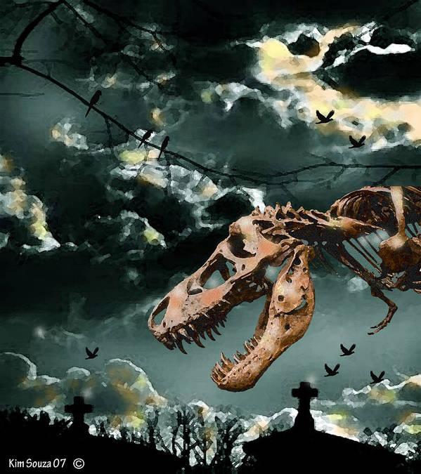Dinosaurs Art Print featuring the digital art T-rex Graveyard by Kim Souza
