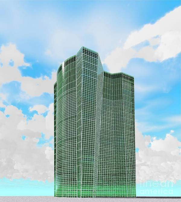 Building Rendering Art Print featuring the digital art Tall And Green by Ron Bissett