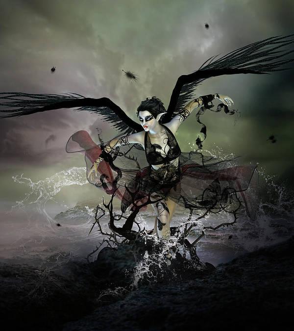Swan Art Print featuring the digital art The Black Swan by Mary Hood