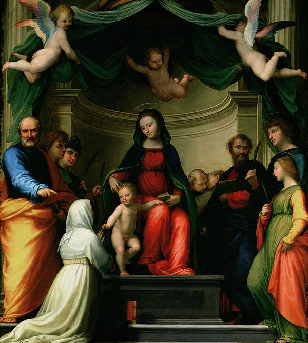 The Mystic Marriage Of St. Catherine Of Siena With Saints Art Print featuring the painting The Mystic Marriage Of St Catherine Of Siena With Saints by Fra Bartolommeo - Baccio della Porta