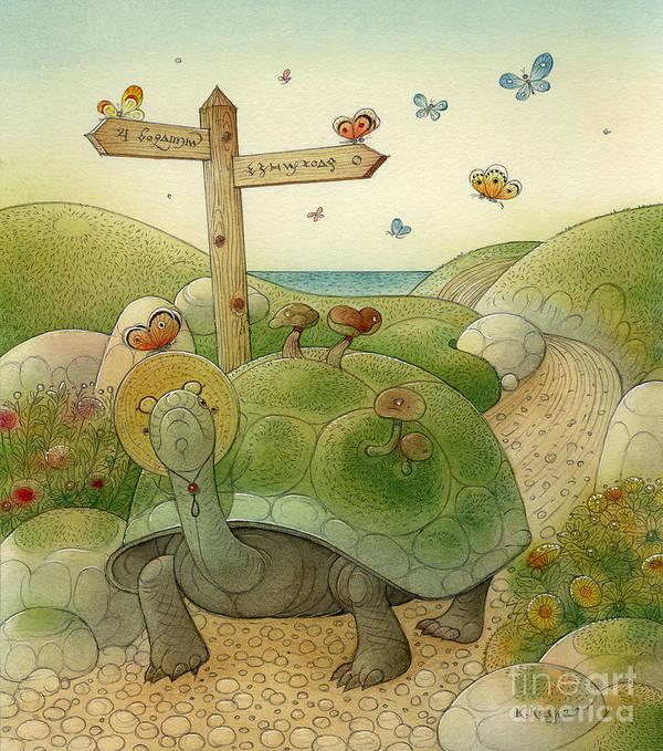 Turtle Rabbit Sea Landscape Sky Green Blue Flowers Mushrooms Print featuring the painting Turtle And Rabbit01 by Kestutis Kasparavicius