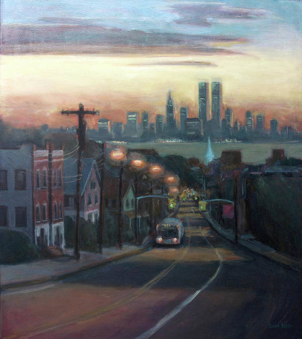 Manhattan Skyline Art Print featuring the painting Victory Boulevard At Dawn by Sarah Yuster