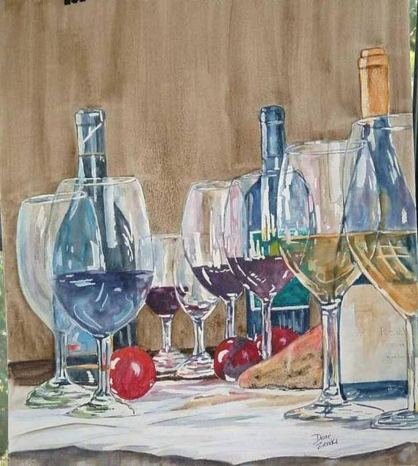 Art Print featuring the painting Wine 2 by Diane Ziemski