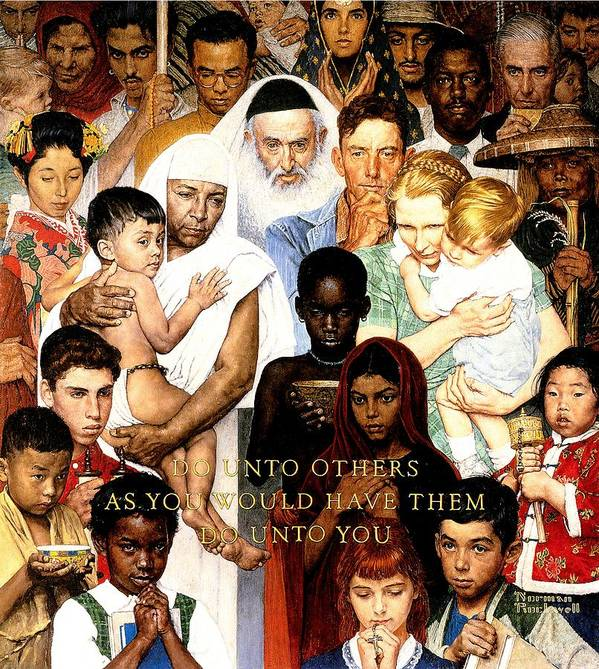 Faith Art Print featuring the drawing Do Unto Others by Norman Rockwell