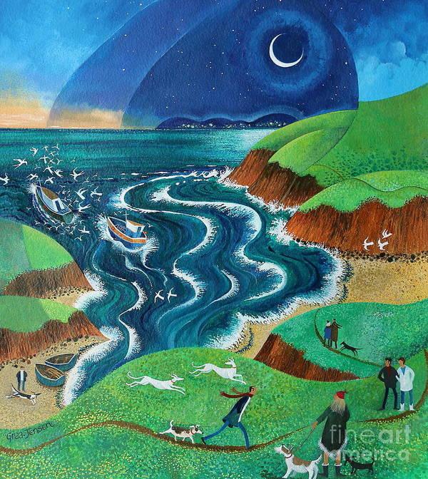 Blue Art Print featuring the painting Evening Sea Breezes by Lisa Graa Jensen