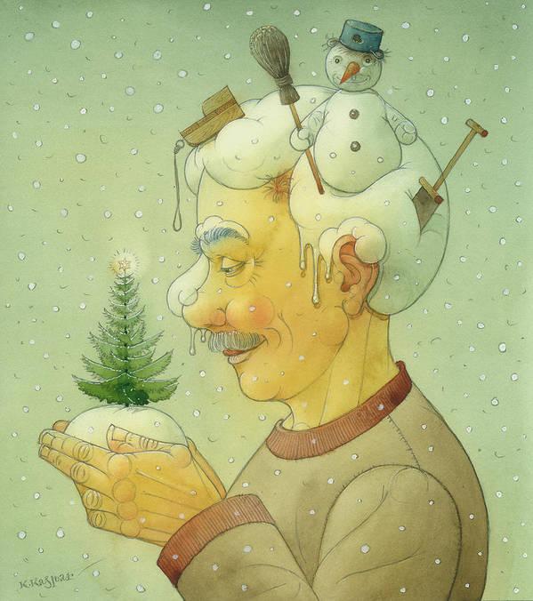 Winter Snow Figure Christmas Tree Holiday Art Print featuring the painting Snovy Winter by Kestutis Kasparavicius