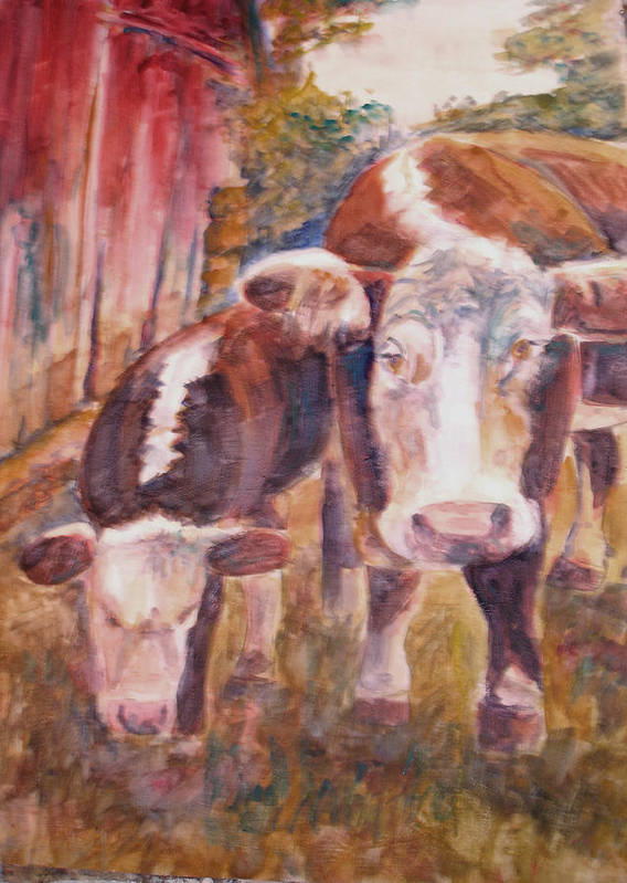 Cows Art Print featuring the painting Mother And Child by Joyce Kanyuk