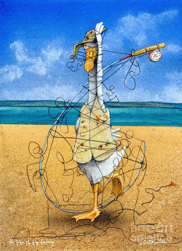 Will Bullas Art Print featuring the painting The Yoga Of Fly Fishing... by Will Bullas