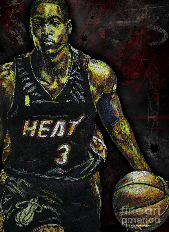 Dwyane Wade Print featuring the drawing Dwyane Wade by Maria Arango