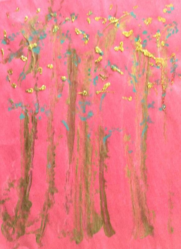 Abstract Art Print featuring the painting Enchanted Forest - Abstraction by Michela Akers
