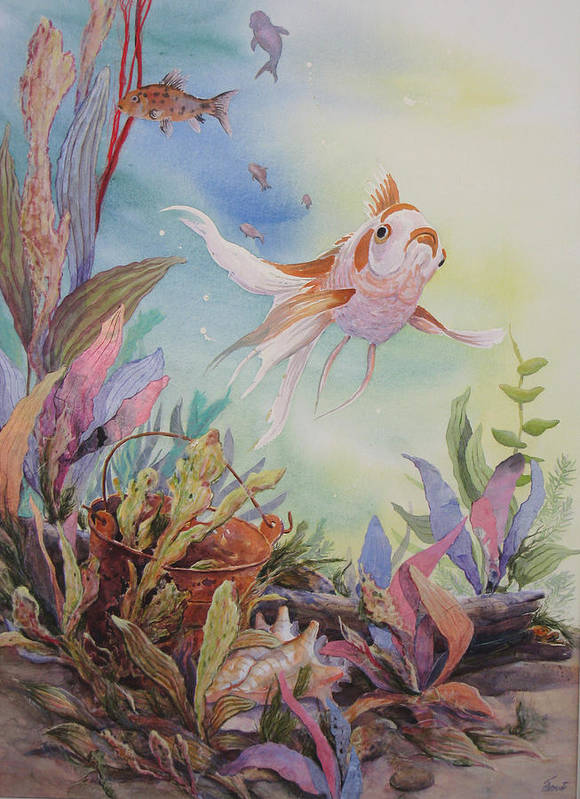 Underwater Scene Art Print featuring the painting Floaters Number Two In A Series by Don Trout
