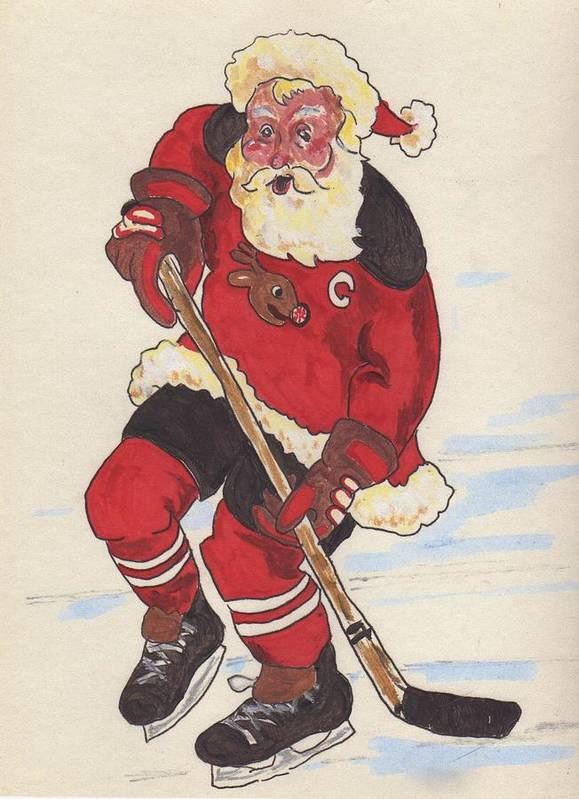 Santa Art Print featuring the painting Hockey Santa by Todd Peterson