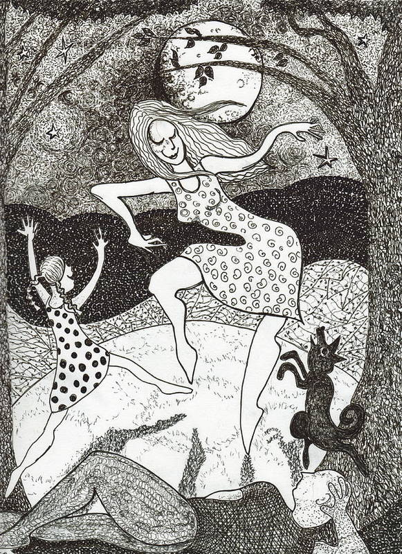 Pen And Ink Art Print featuring the drawing Mama Did The Moon Dance by Todd Peterson