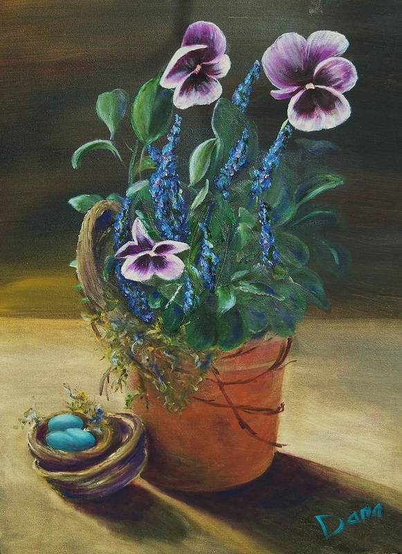 Pansy Art Print featuring the painting Sitting Pretty by Dana Redfern