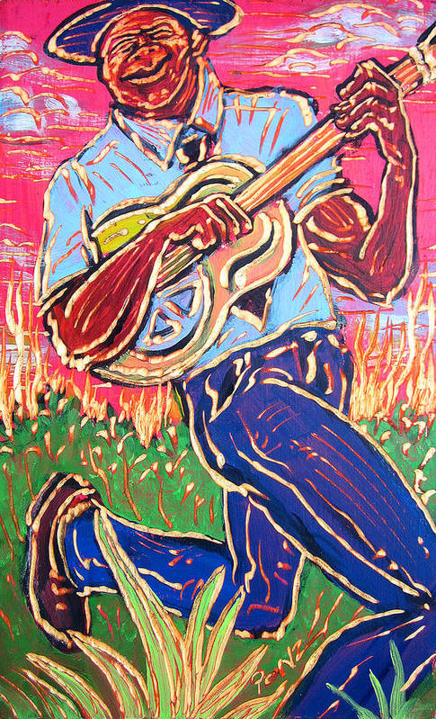 Blues Art Print featuring the painting Skippin' Blues by Robert Ponzio