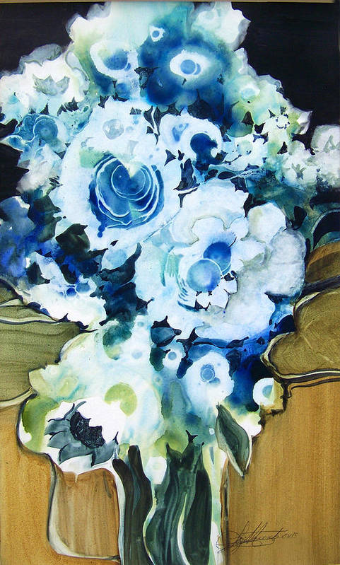 Contemporary;floral;flowers;abstract; Art Print featuring the painting Contemporary Floral In Blue And White by Lois Mountz