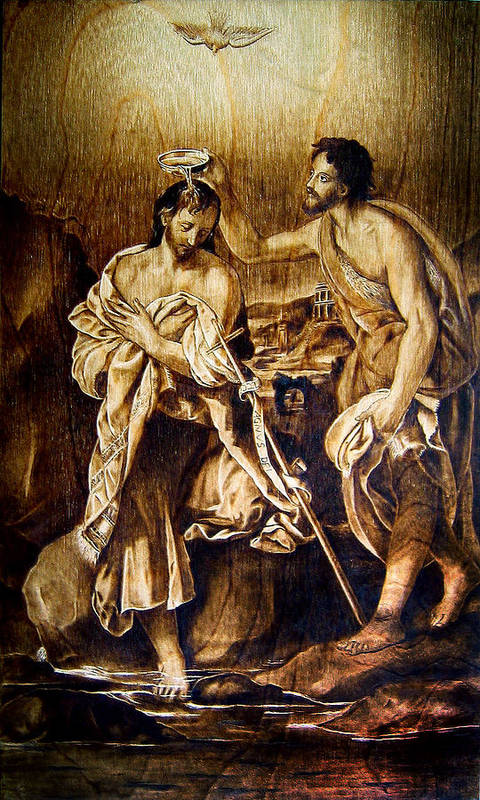 Dino Muradian Art Print featuring the pyrography Baptism Of Christ by Dino Muradian