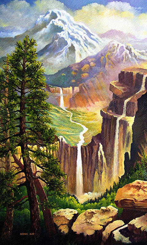 Western Art Mountains Art Print featuring the painting Three Sisters Falls by Donn Kay