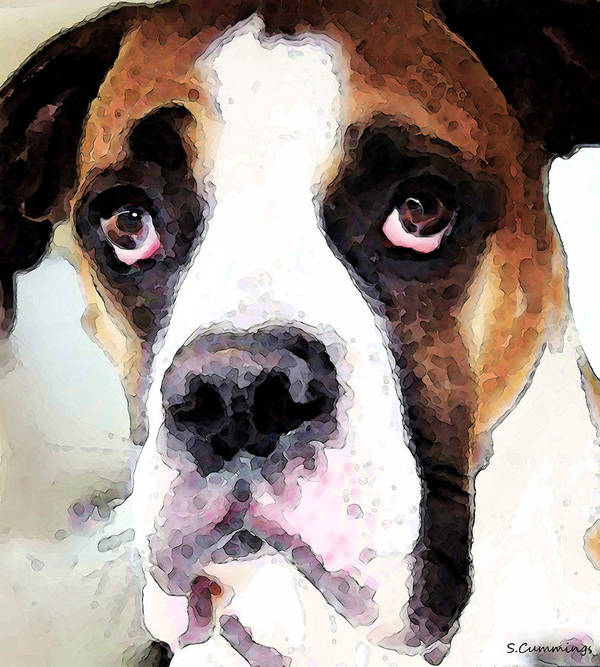 Boxer Art Print featuring the painting Boxer Art - Sad Eyes by Sharon Cummings
