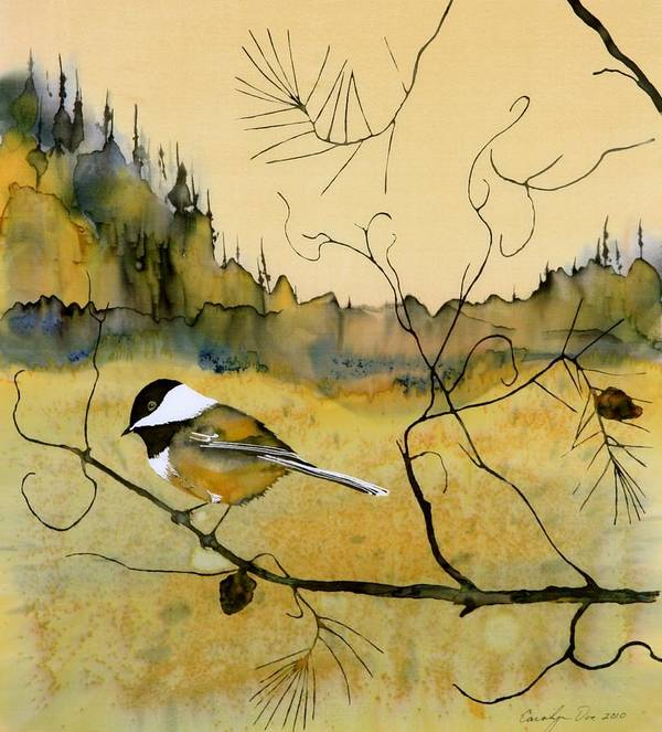 Chickadee Art Print featuring the tapestry - textile Chickadee In Dancing Pine by Carolyn Doe