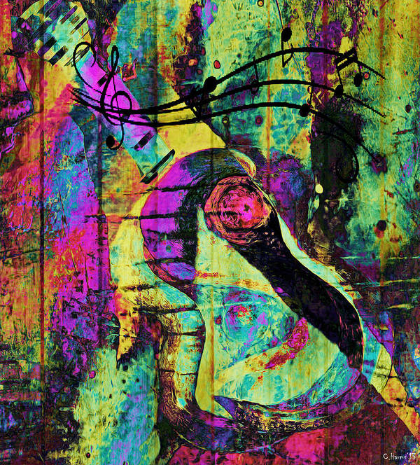 Guitar Print featuring the mixed media Guitar Improvisation by Catherine Harms